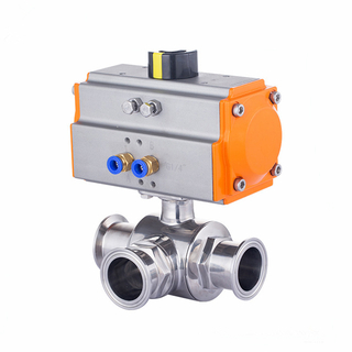 Sanitary Pneumatic T or L Port Tri Clamp Ball Valve Stainless Steel 304/316L