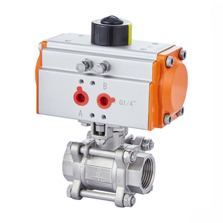 Easy-maintenance Air Actuated 3-pc Stainless Ball Valve Double Acting