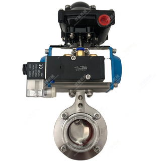 Sanitary Stainless Steel Butterfly Valve with Position Switch And Solenoid Valve