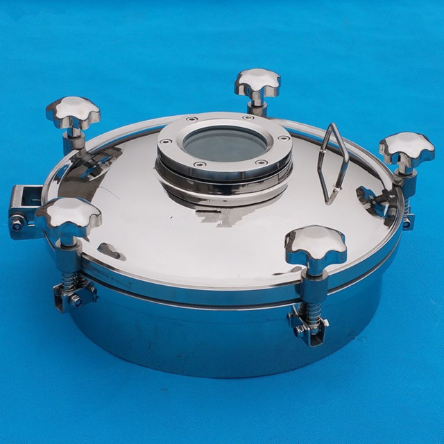 Sanitary SS304 Circle Pressure Tank Manway with Flange Sight Glass