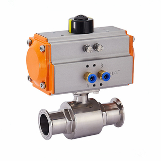 Sanitary Pneumatic Actuated Tri Clamp Ball Valve SS304/SS316