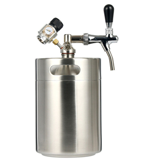Stainless Steel Wine Beer Mini Keg Growler with CO2 Regulator